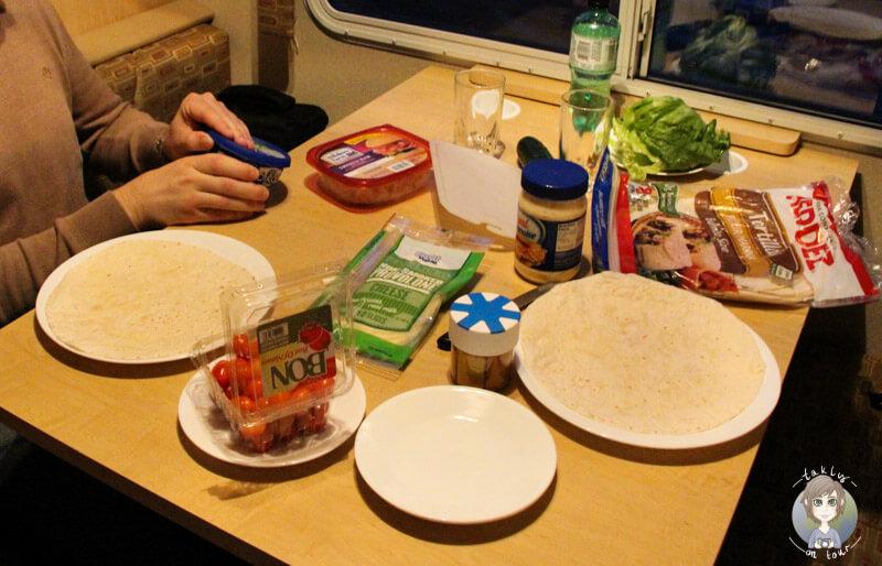 Abendessen im Camper