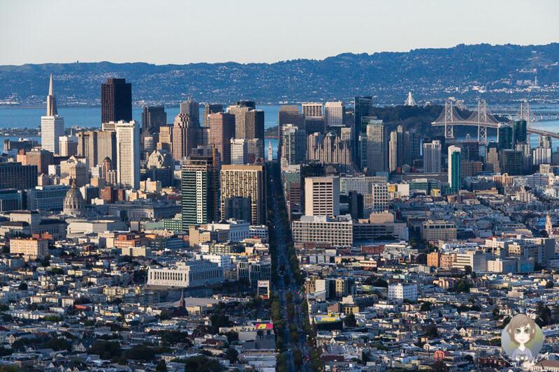 Blick von den Twin Peaks in San Francisco