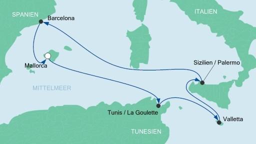 Aida Mittelmeer Route