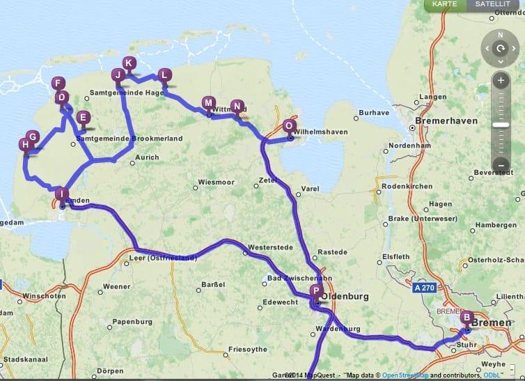 Unsere Ostfriesland Route 2014