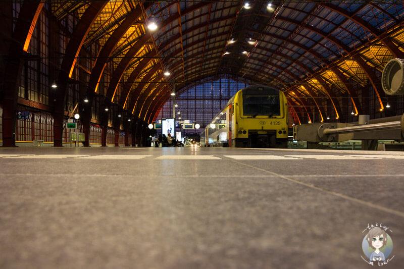 Die Bahngleise im Bahnhof Centraal in Antwerpen