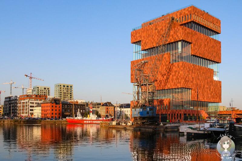 Das auffällige Gebäude des MAS, Museum aan de Strom in Antwerpen