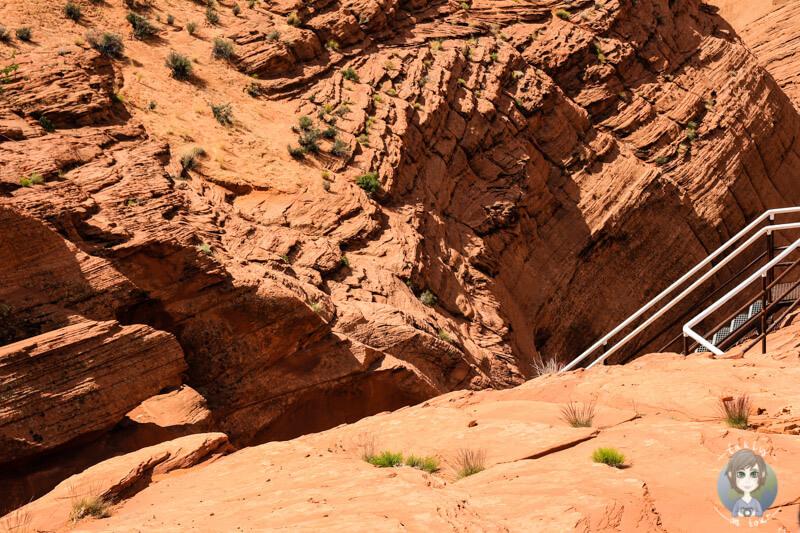Treppe hinunter in den Antelope Canyon