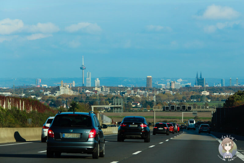 Blick auf den Dom, auf unserer Rückfahrt Richtung Köln