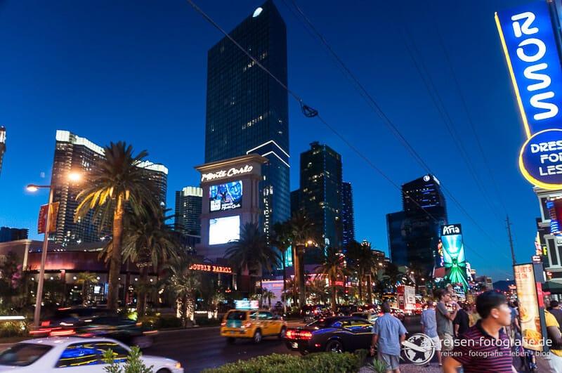 Las Vegas bei Nacht ist ein Unterschied von Westkueste USA zu Ostkueste USA