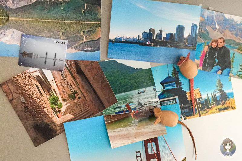 Reisefotos und Urlaubsfotos am Kuehlschrank