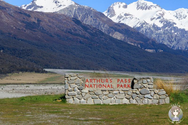 Eingangsschild vom Arthur's Pass National Park