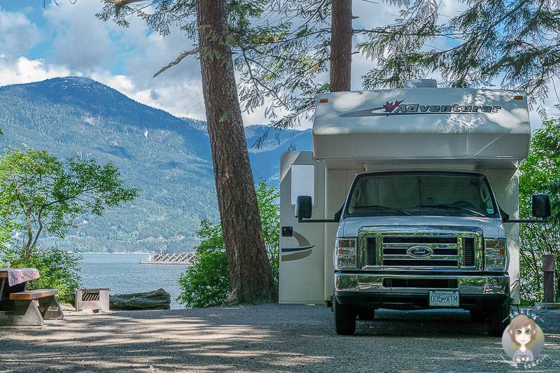 Camping im Porteau Cove Provincial Park, Nahe Vancouver waehrend unserer Rundreise USA Westküste