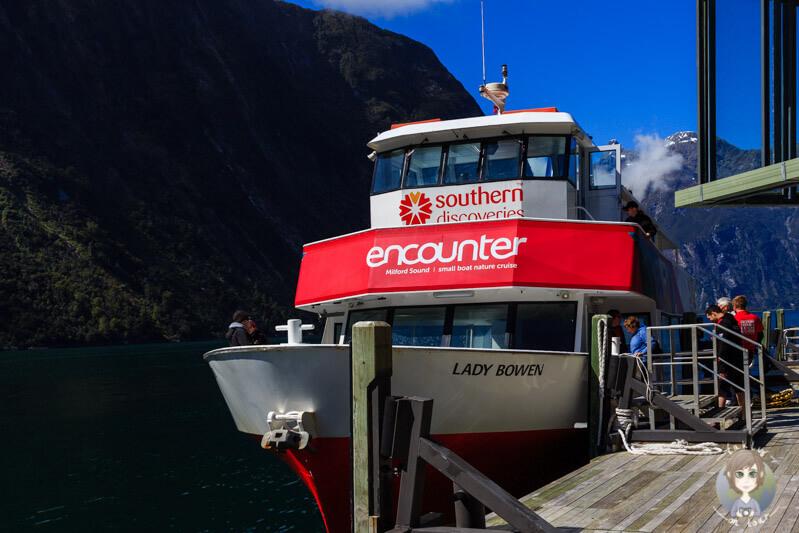 Schiff auf dem Milford Sound