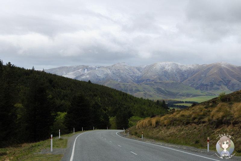 schöne Bergwelt auf der Fahrt Richtung Fairlie