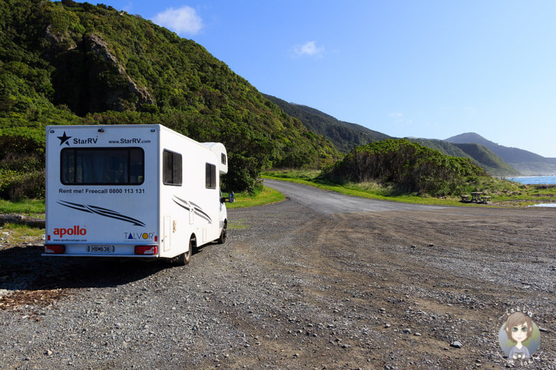 Freedom Camping in Neuseeland am Paparoa Point, nördlich von Kaikoura