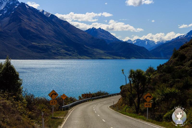Fahrt Richtung Glenorchy am Lake Wakatipu entlang