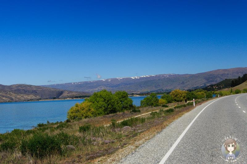 Fahrt entlang des Lake Dunstan, Otago