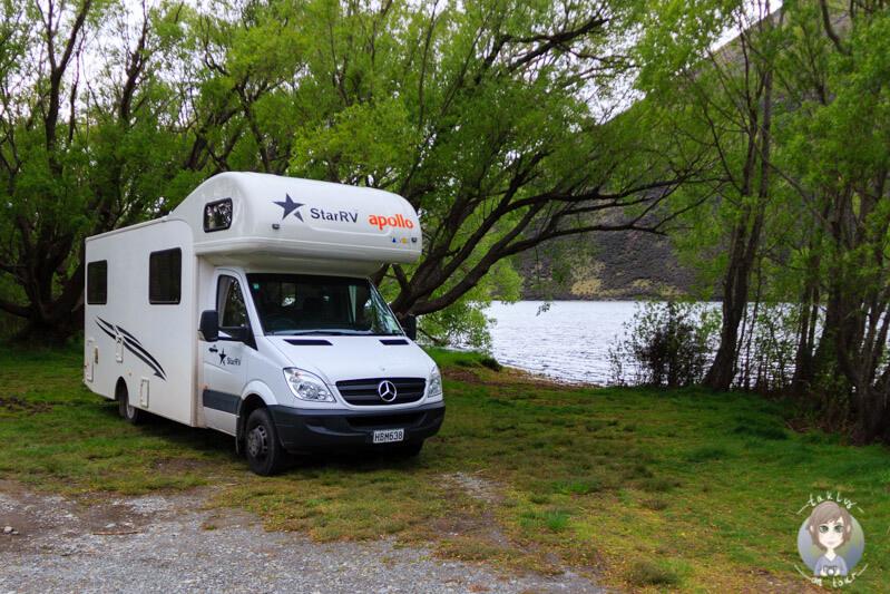 Kostenlos übernachten in Neuseeland am Lake Pearson, Canterbury