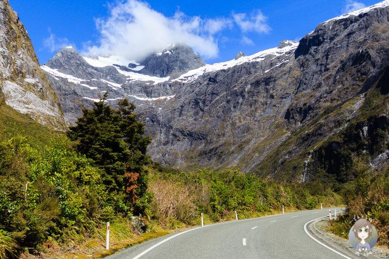 Fahrt über die Milford Road, Neuseeland
