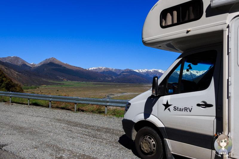 Auf dem Weg zum Arthur´s Pass auf unserer Reise mit dem Camper in Neuseeland