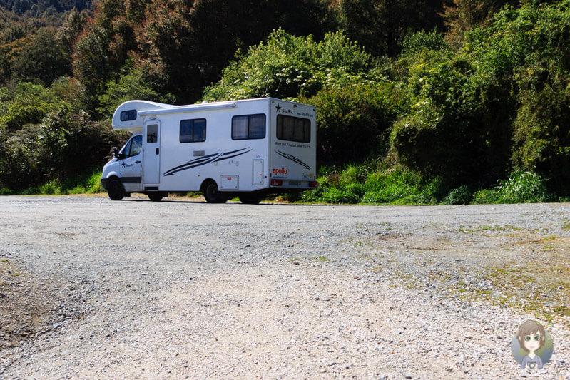 Parkplatz an den Maruia Falls am SH65