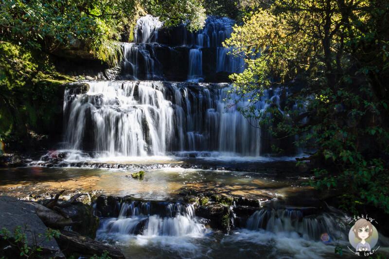 die meist fotografoertesten Wassergälle Neuseelands: die Purakaunui Falls