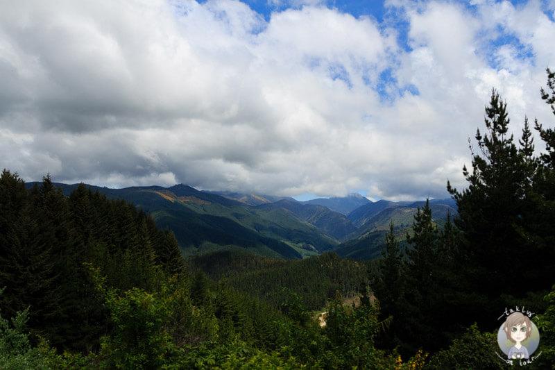 Sicht von dem Takaka Hill Highway, Neuseeland