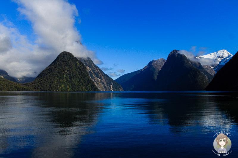 ruhiges Wasser am Milford Sound bei tollem Wetter