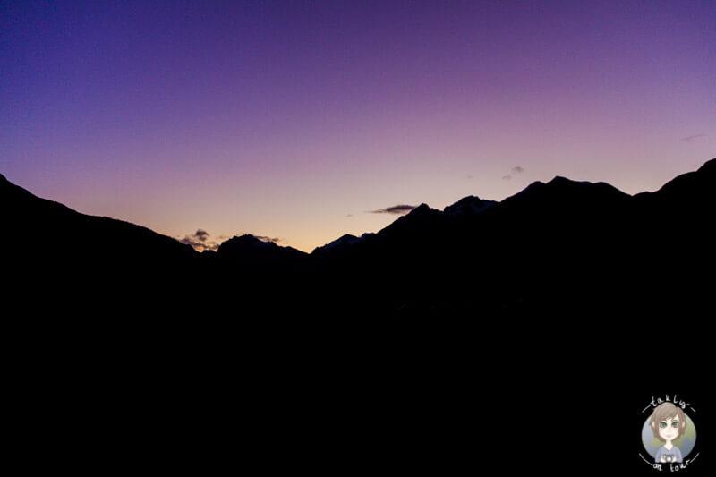 Sonnenuntergang am Campingplatz im Fiordland Nationalpark