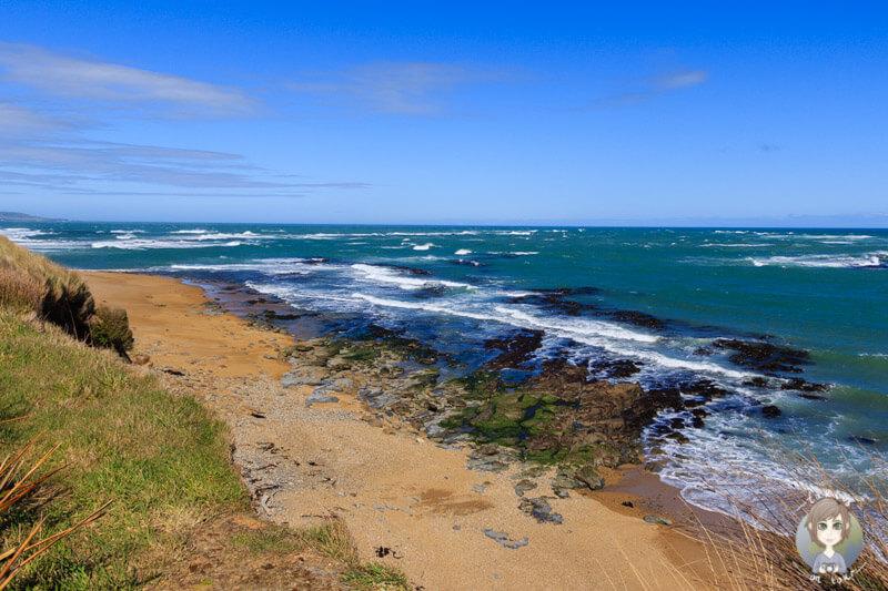Die Küste am Waipapa Point Leuchtturm