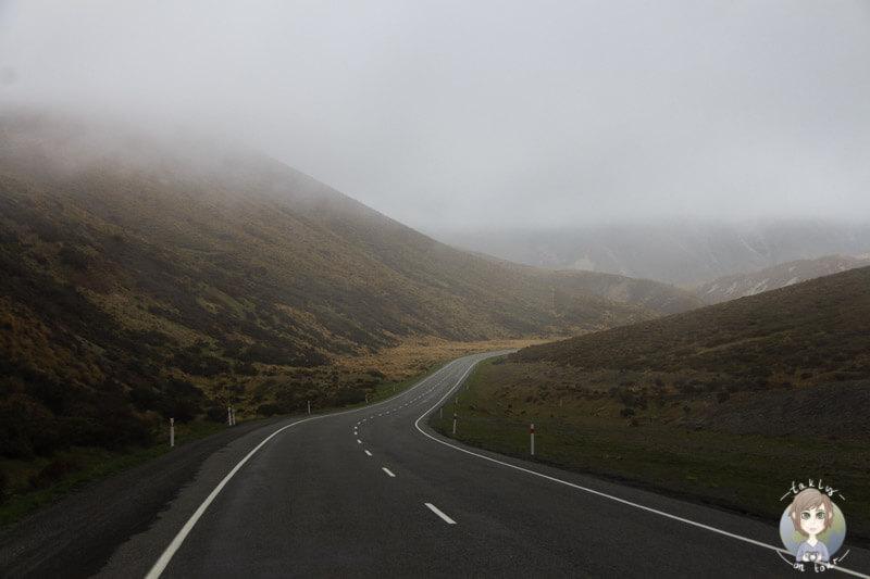Fahrt Richtung Castle Hill, Neuseeland