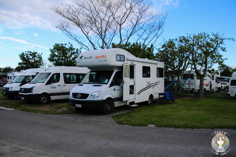 Unser Stellplatz auf dem Amber Kiwi Holiday Park in Christchurch