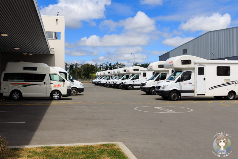 Abgabe unserer Campers bei Apollo Motorhomes in Christchurch