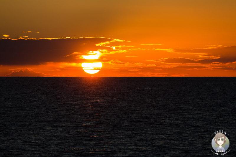 Der Sonnenuntergang auf der Fahrt AIDA Ostsee