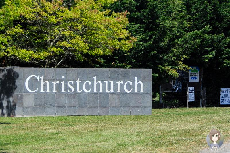 Christchurch - ein Schild am Ortseingang