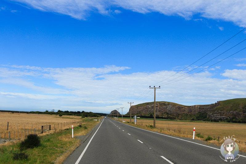 Fahrt Richtung Christchurch über die banks Peninsula in Neuseeland