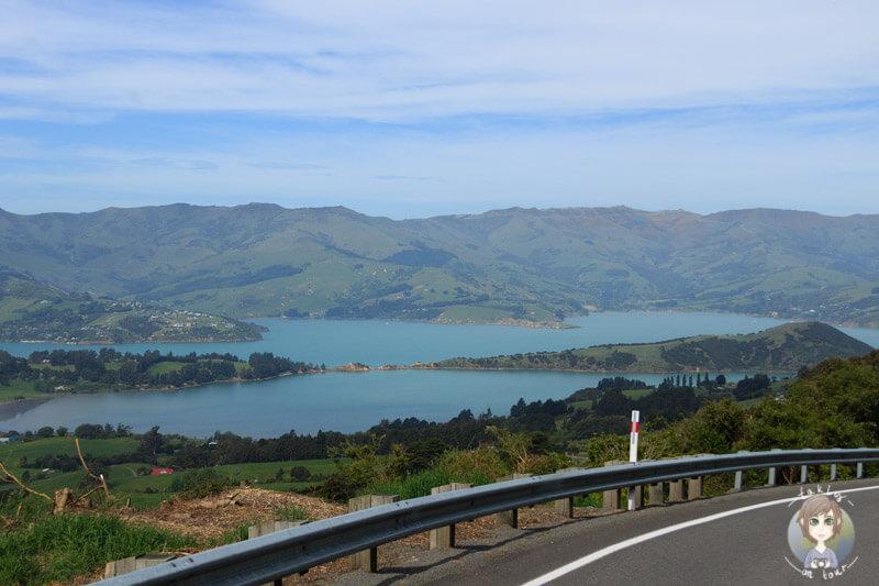 Unsere Fahrt Richtung Akaroa mit tollen Aussichten