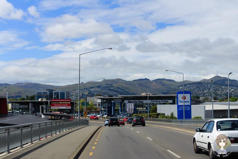 Fahrt in das Zentrum von Christchurch