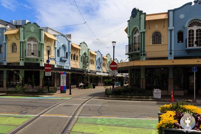 Eine bunte Häuserzeile in Christchurch