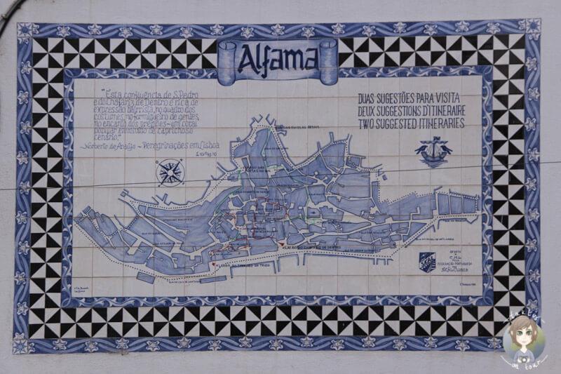 Ein Stadtplan von Alfama aus Azulejos