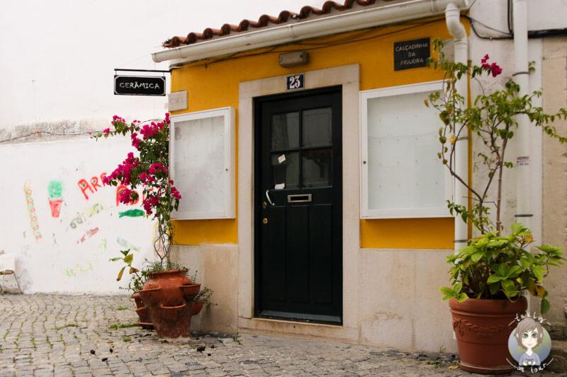 Ein Hauseingang in einer Gasse von Alfama in Lissabon