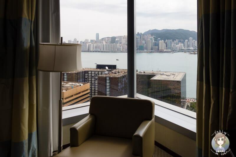 Unser Blick aus dem Hotelfenster auf Hong Kong