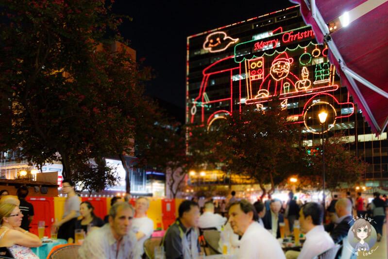 Unser Blick vom Tisch im Café Fountain in Hong Kong