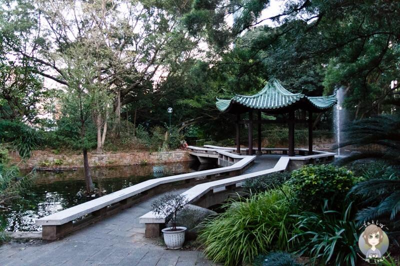 Ein schöner Pavillon im Kowloon Park in Hongkong