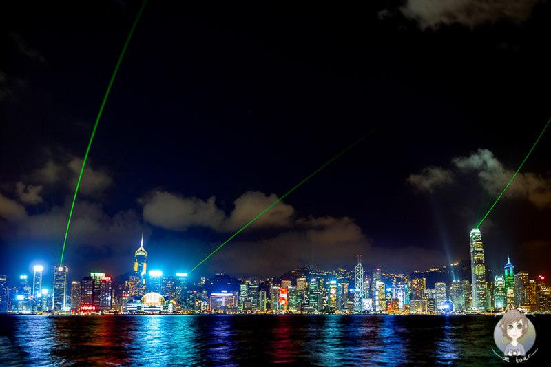 Die Lightshow 'Symphonie of Lights' in Hong Kong