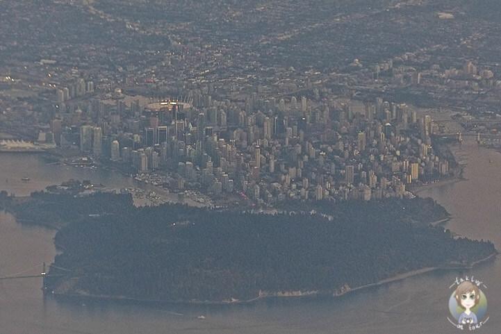Ein Blick aus dem Flugzeug auf Vancouver, Kanada