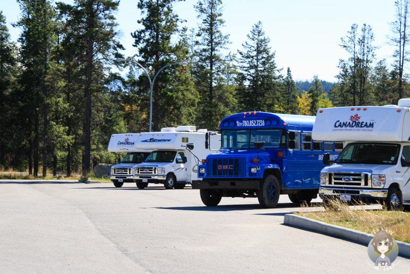 Bus- und Wohnmobilparkplatz in Jasper