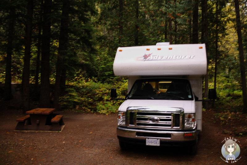 Unser Stellplatz auf dem Clearwater Lake Campground, Wells Gray Provincial Park