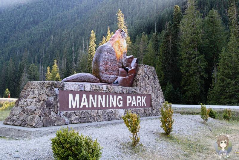 Der Eingang des Manning Provincial Park, Kanada