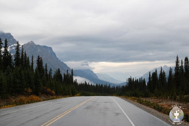Tiefhängende Wolken über dem Icefields Parkway, Kanada