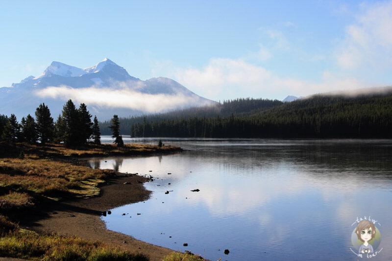 Blick über den Maligne Lake, Jasper Nationalpark, Kanada