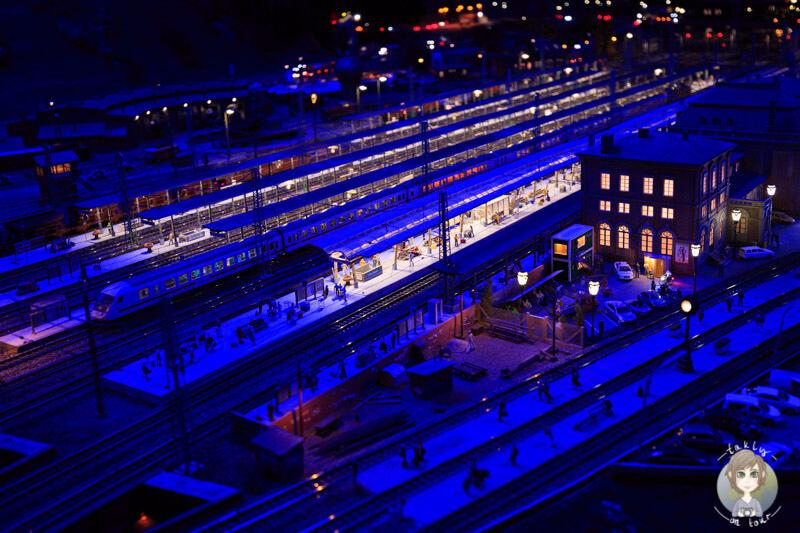 Dunkelheit am Hauptbahnhof im Miniatur Wunderland