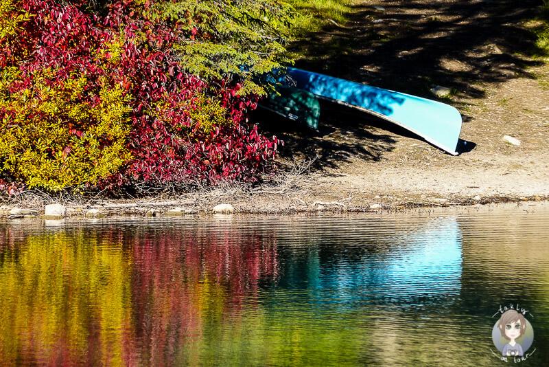 Ein Kanu am Ufer des Emerald Lakes, Kanada