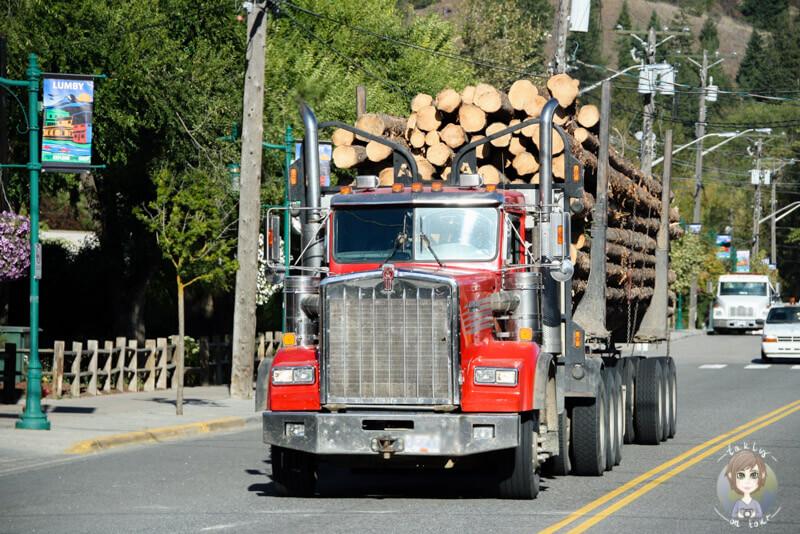 Ein Truck mit Holz in Kanada